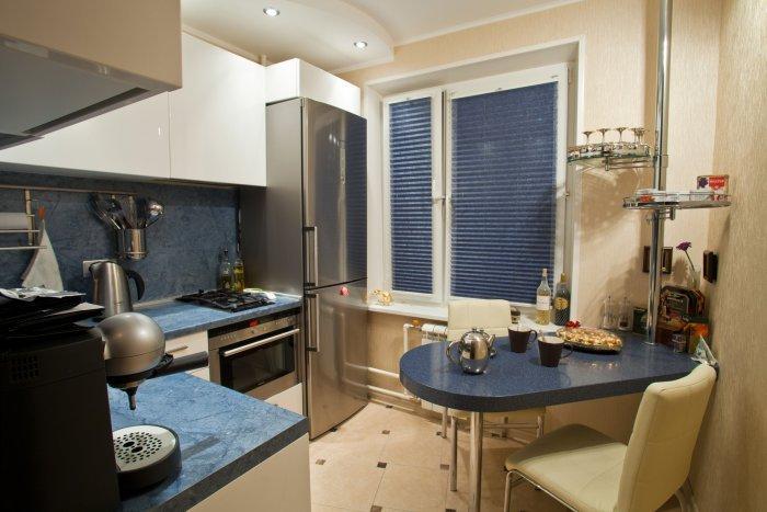 Кухня в хрущевке 6 кв.м дизайн с холодильником и стиральной машиной