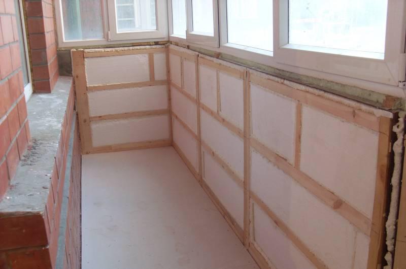 Подготовка стен балкона