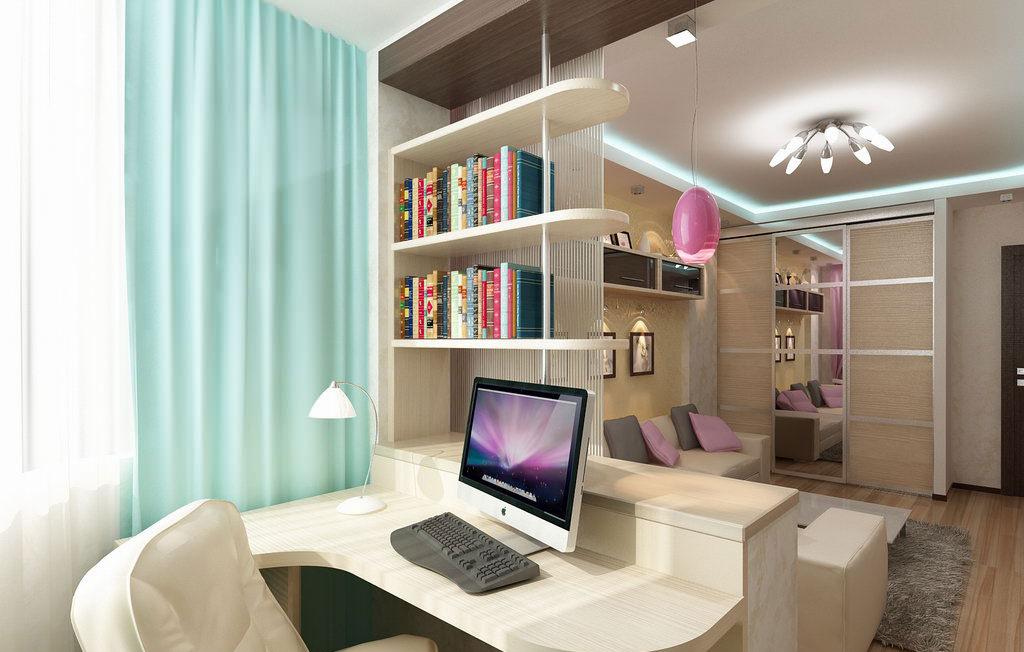 Зонирование рабочей зоны и гостиной