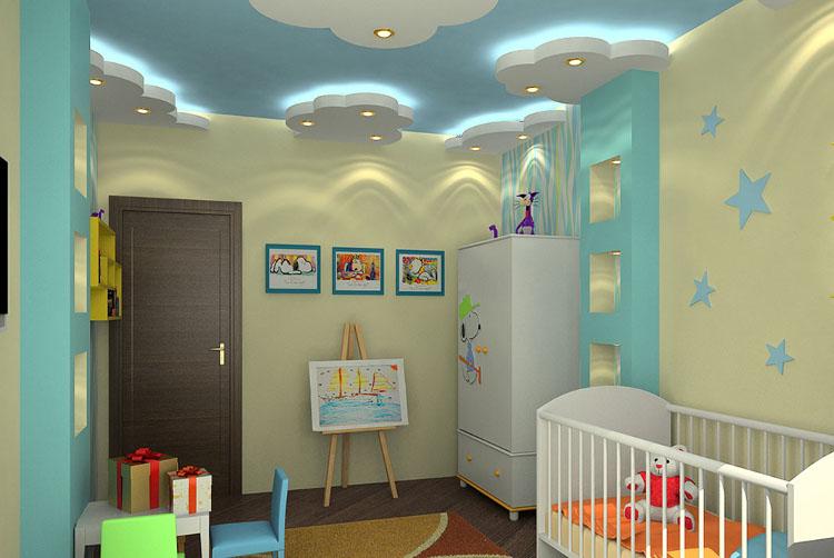 Цветовое оформление потолка в детской