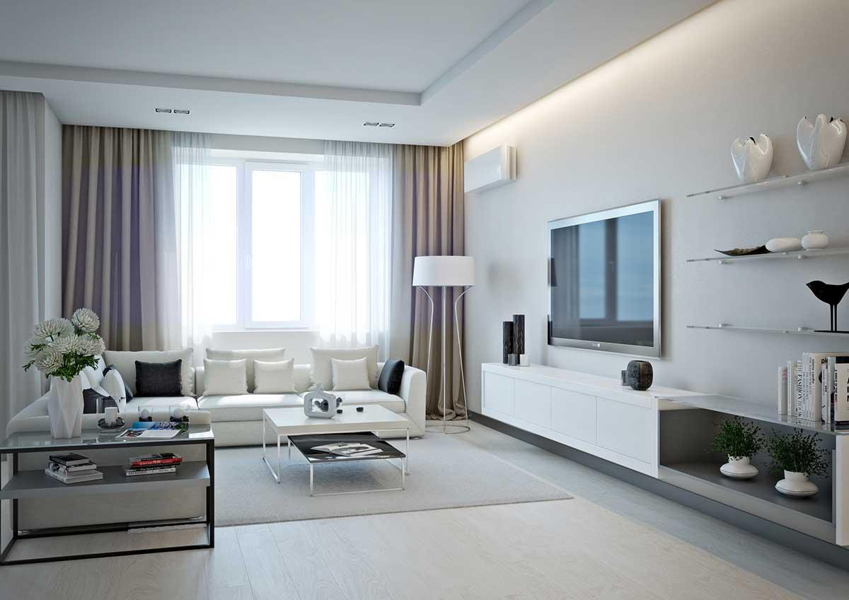Оформление гостиной в белом цвете