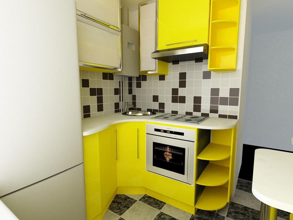 Дизайн небольшой кухни с колонкой