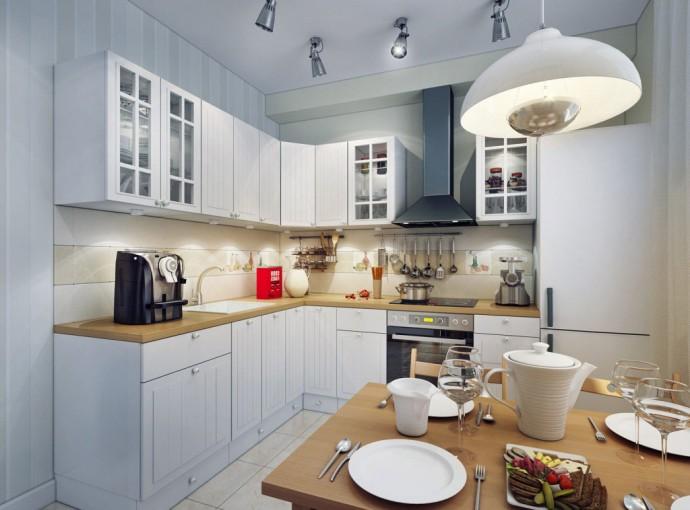 Комбинированное освещение маленькой кухни
