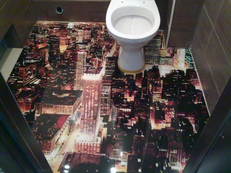 Наливные 3D полы в туалете