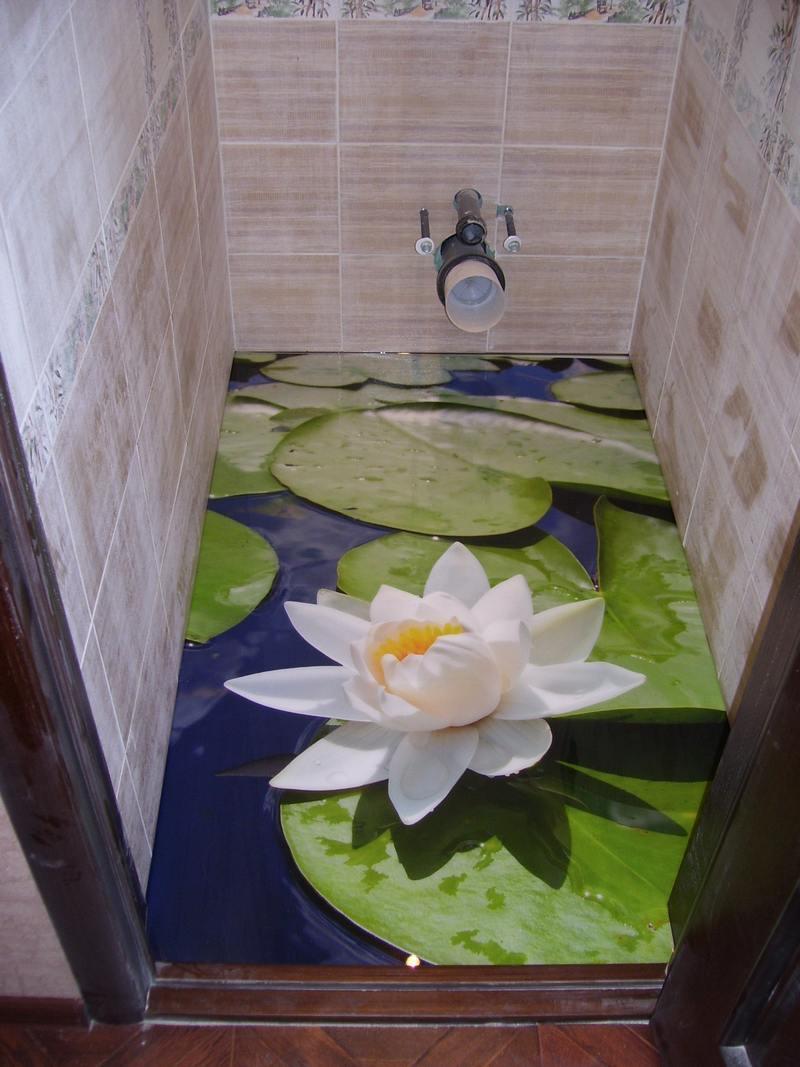 Наливные 3д полы в туалете