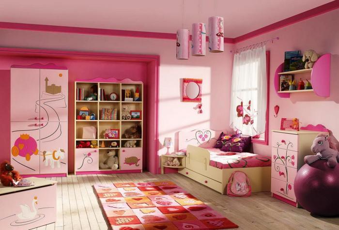 Обстановка в комнате для девочки