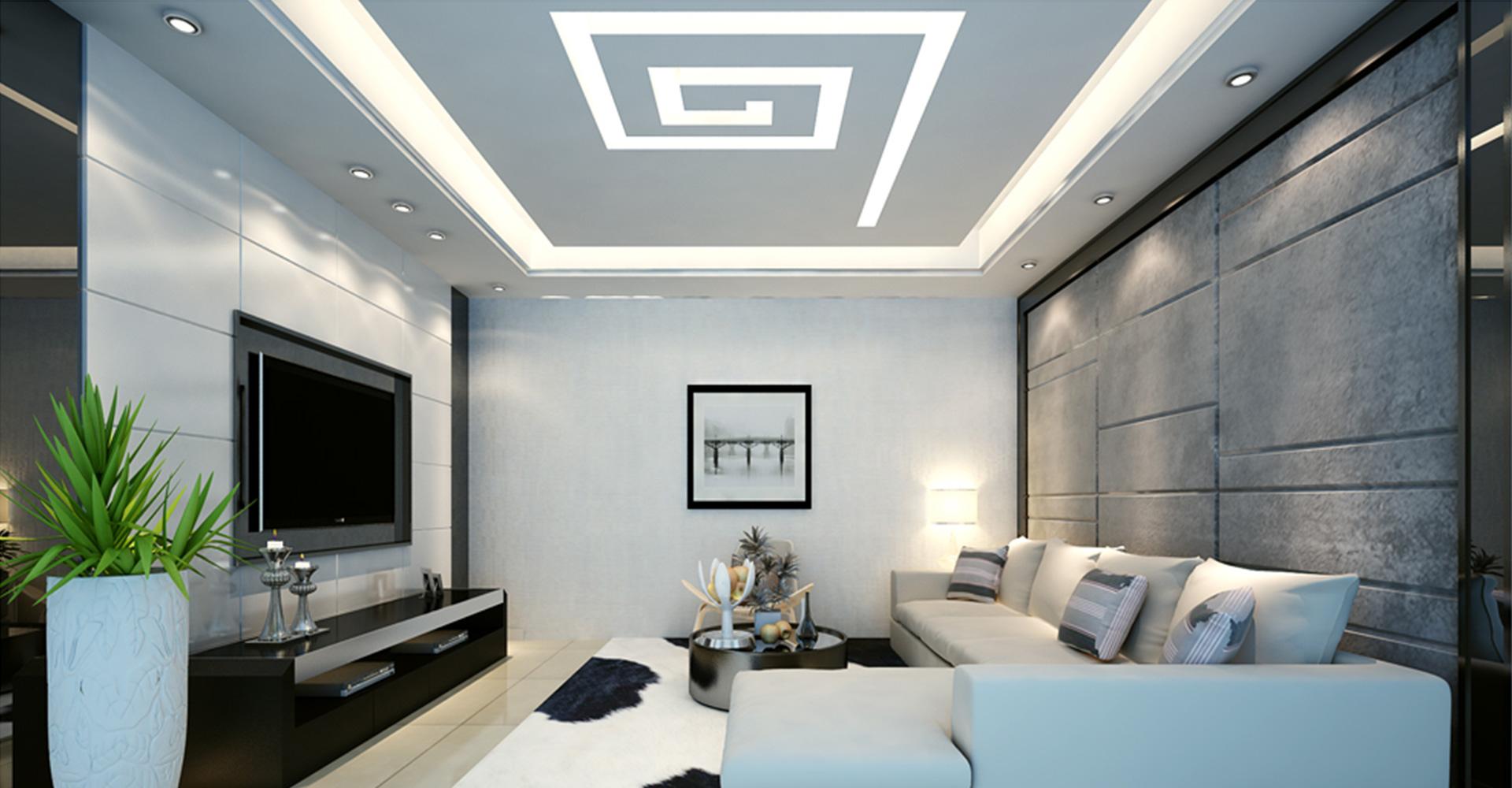 Потолок из гипсокартона для гостиной