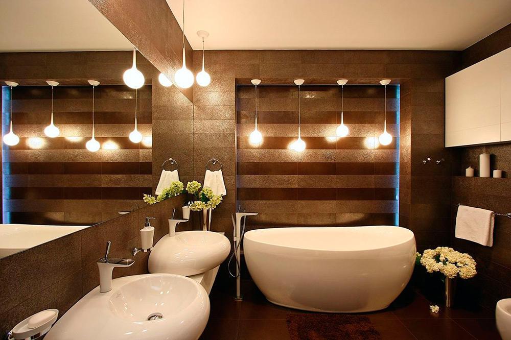 Расположение источников света в ванной