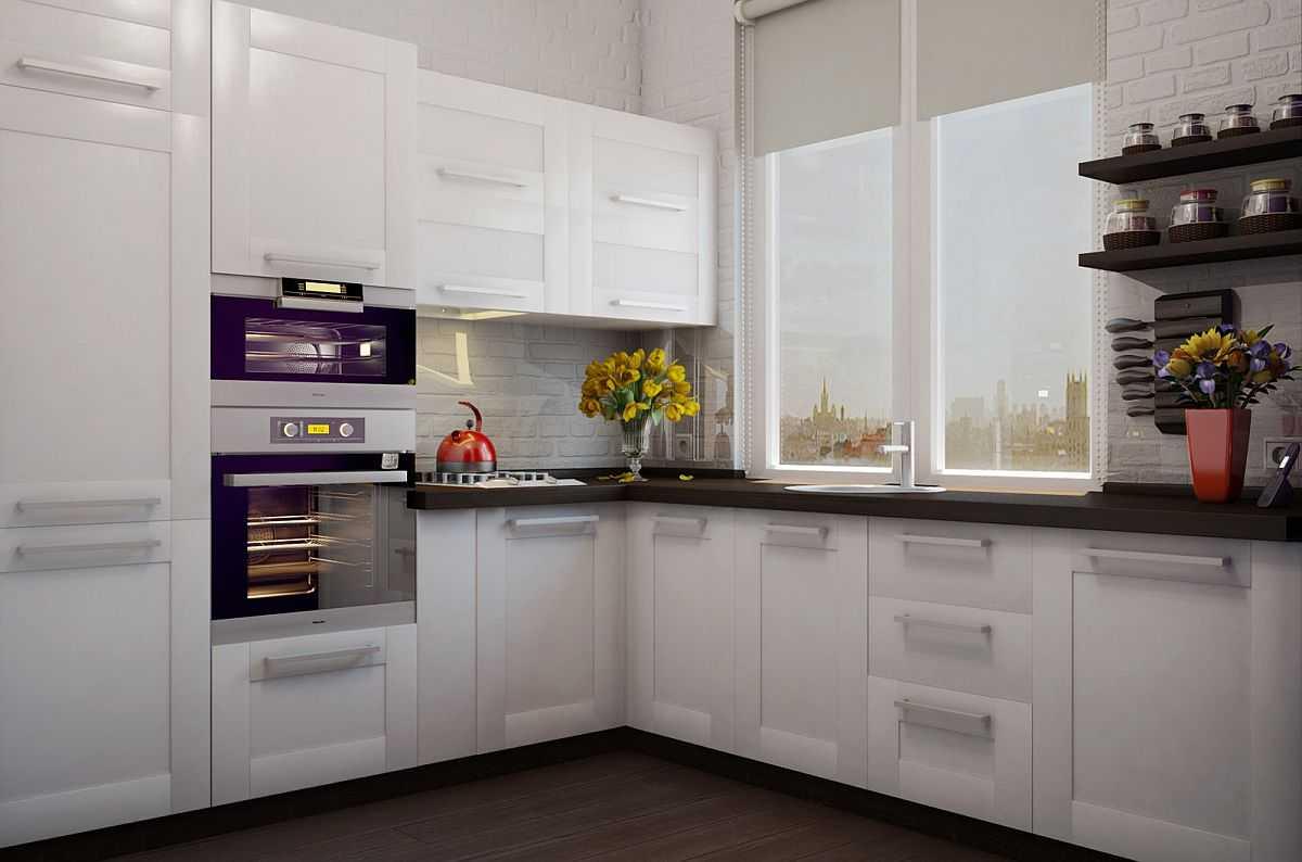 Рулонные шторы в маленькой кухне
