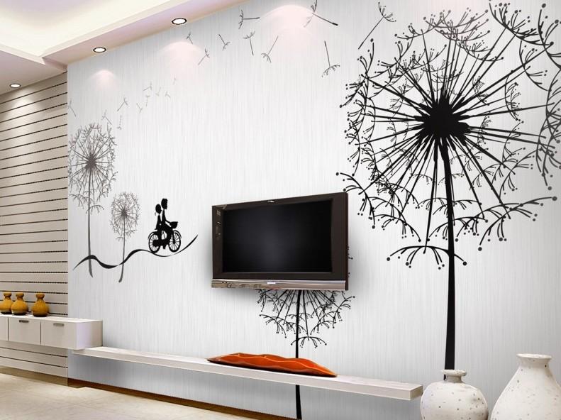 Трафаретный рисунок на стене в гостиной