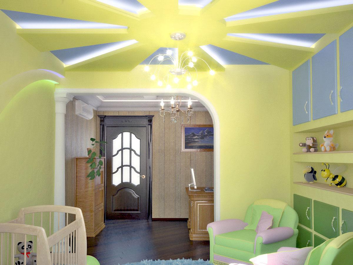 Желтый потолок в детской
