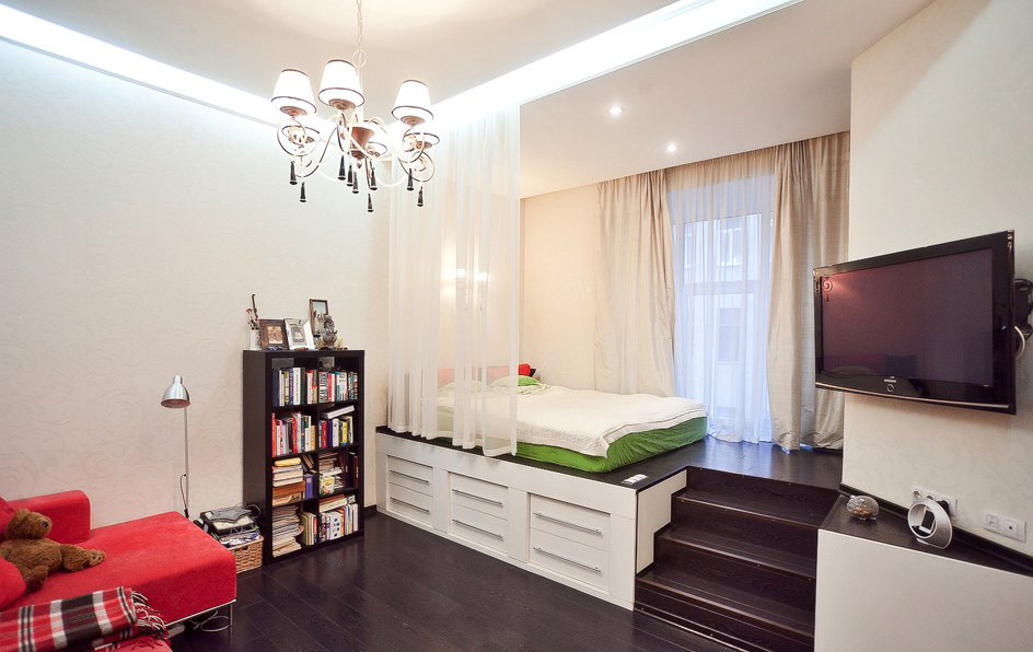 Зонирование гостиной с помощью света