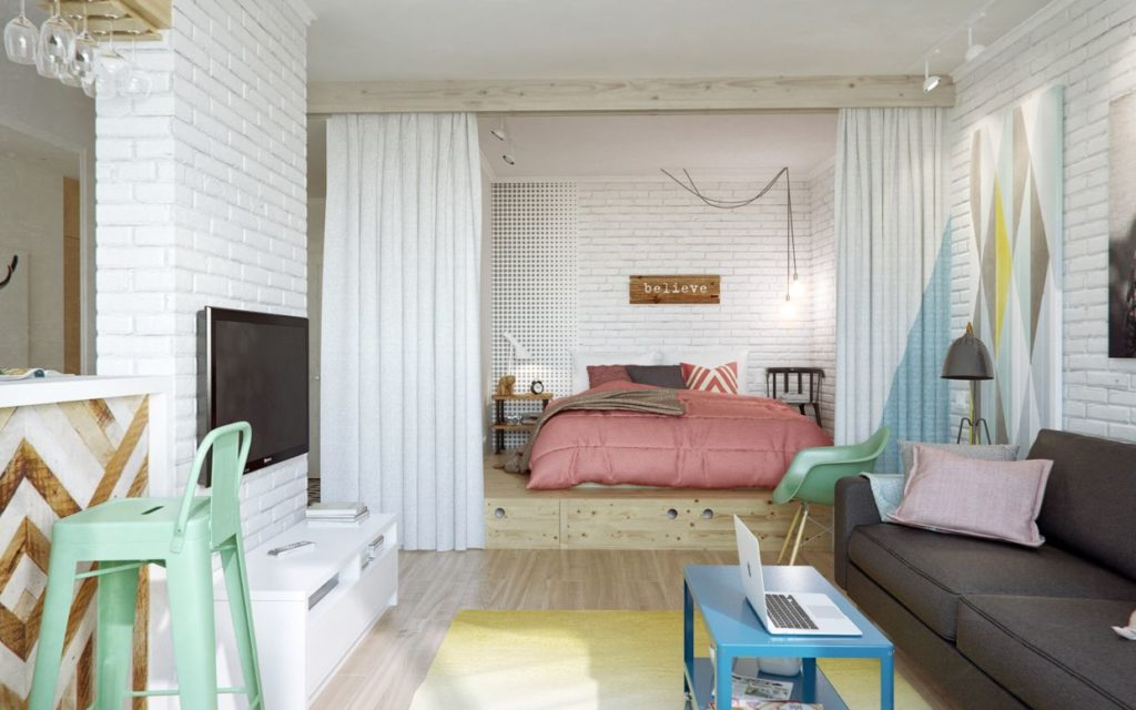 Деление спальни шторами