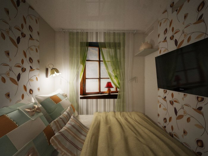 Фальш-окно в маленькой спальне