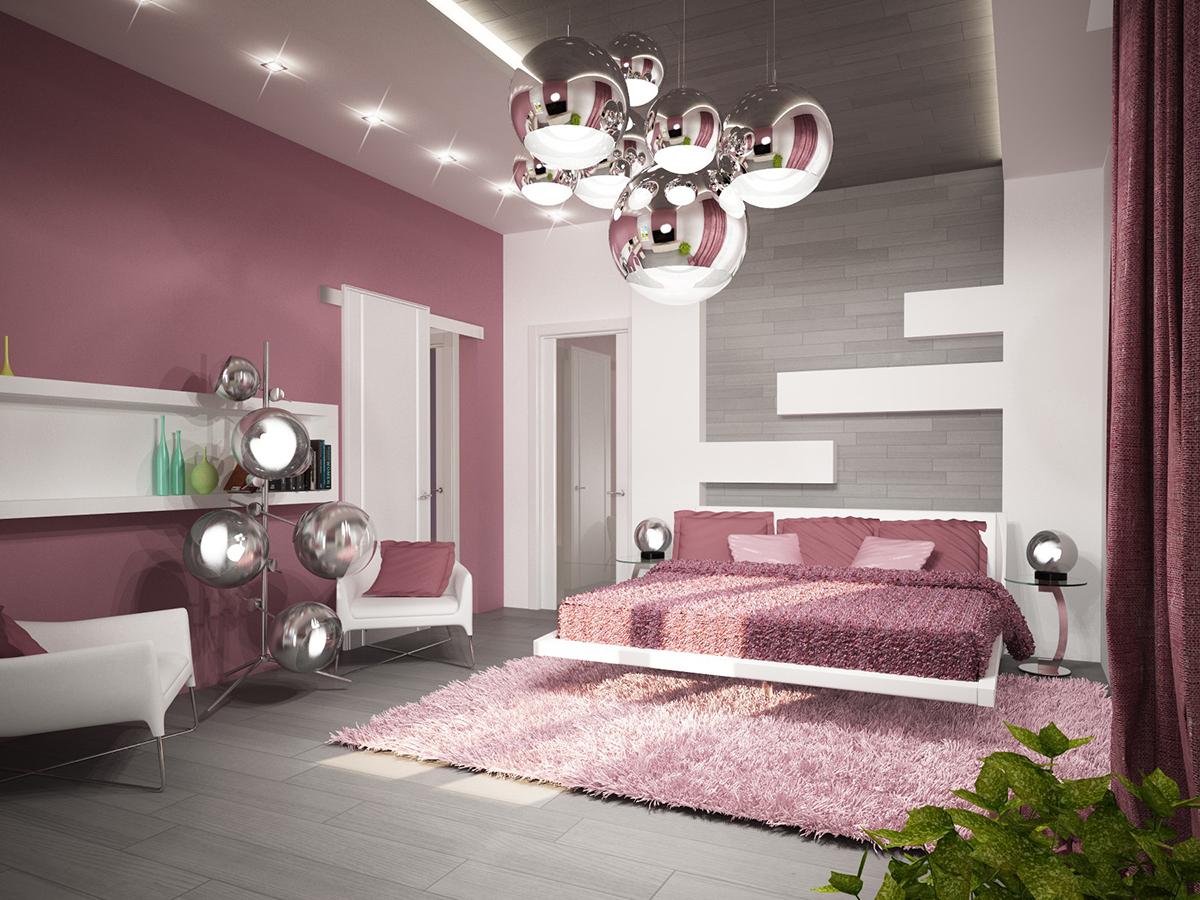 Светильники в стиле хай-тек в спальне