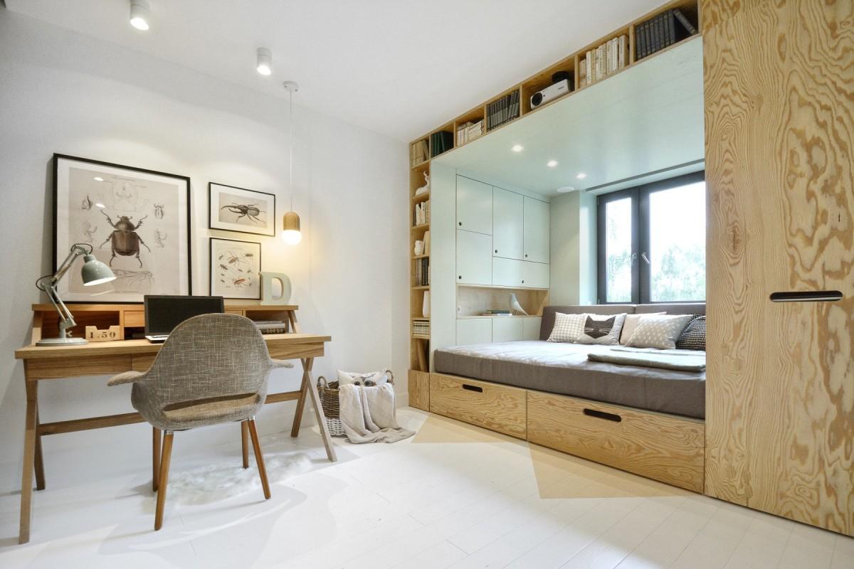 Разделение спальни подиумом