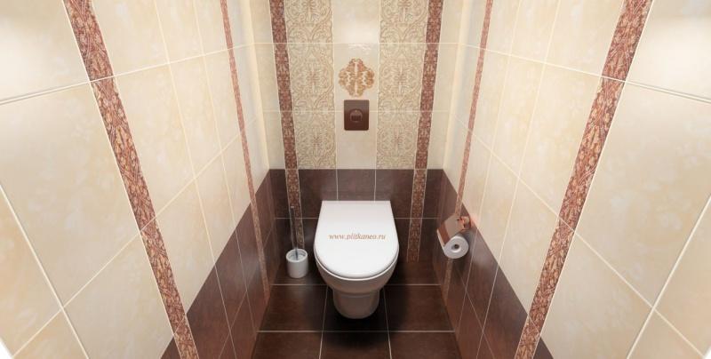 Плитка на полу и стенах туалета
