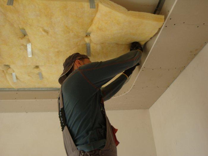 Бескаркасная схема шумоизоляции потолка
