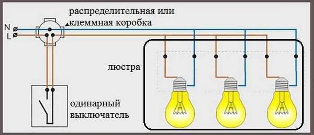 Подключение люстры к одноклавишному выключателю