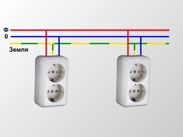 Схема последовательного соединения розеток