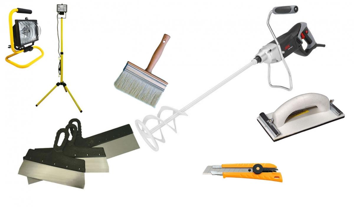 Инструменты для подготовки потолка к покраске