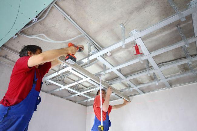 Создание каркаса подвесного потолка