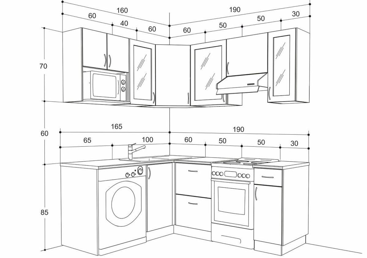 Размеры кухонного гарнитура с фартуком