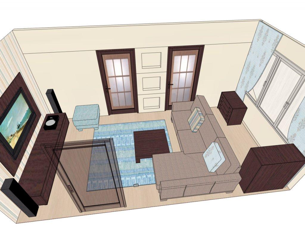 План расстановки мебели в гостиной