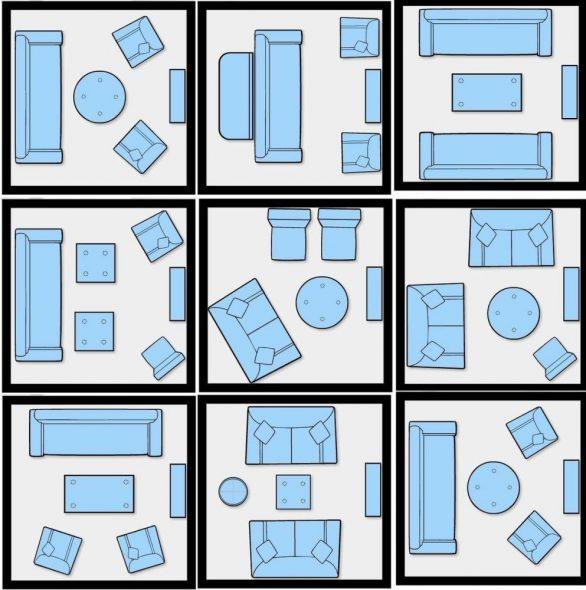 Варианты расстановки мебели в гостиной