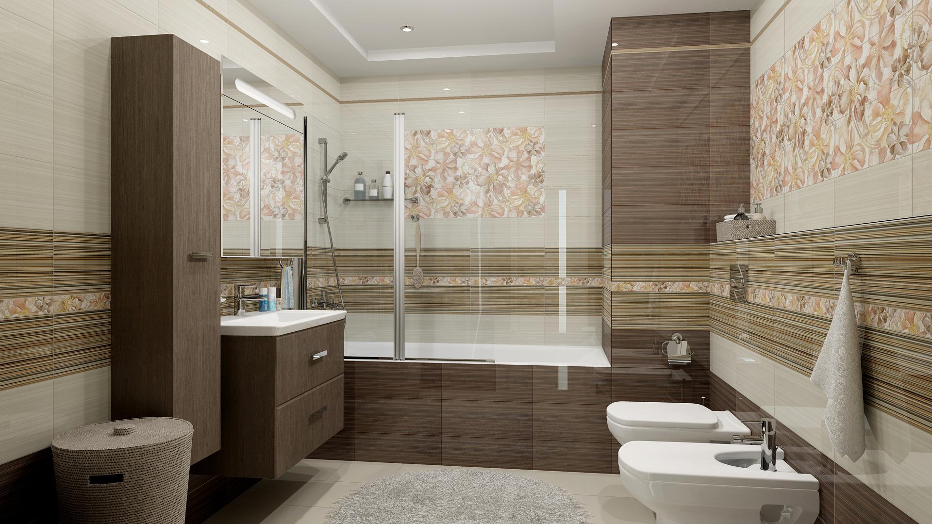 Плитка с горизонтальными полосами в ванной