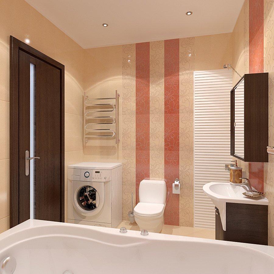 Плитка с вертикальными полосами в ванной