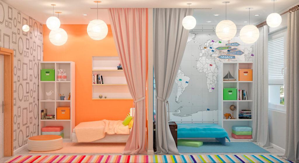 Цветовое оформление детской для двух детей