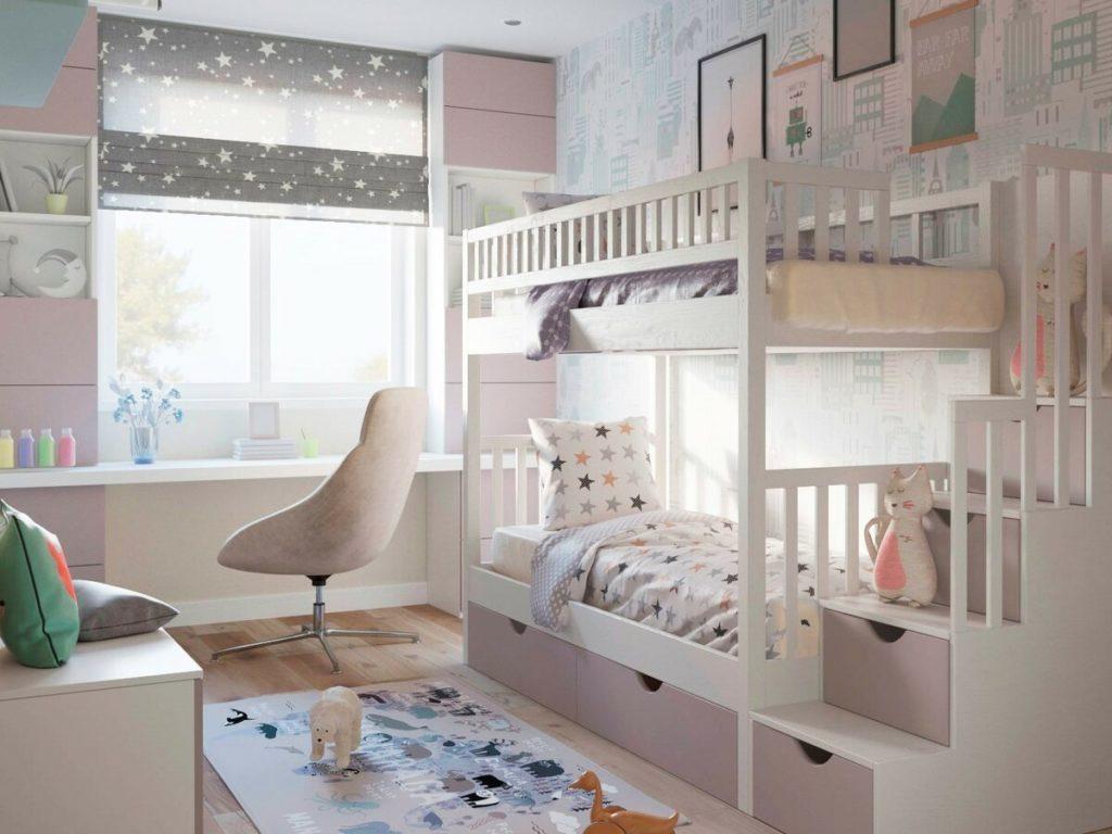 Двухярусная кровать в детской