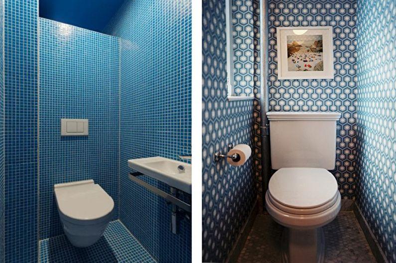 Маленький туалет в голубом исполнении