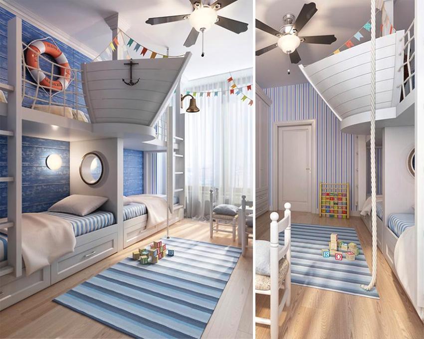 Морская тематика в комнате для мальчика и девочки