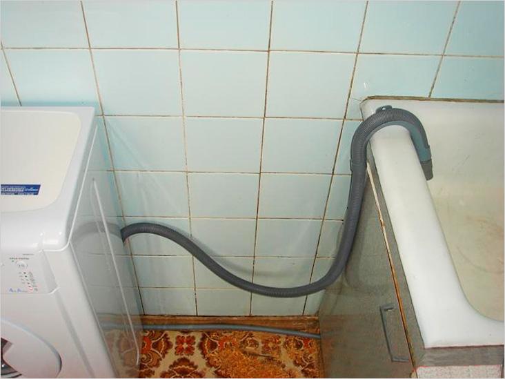 Слив из стиральной машины напрямую в ванную