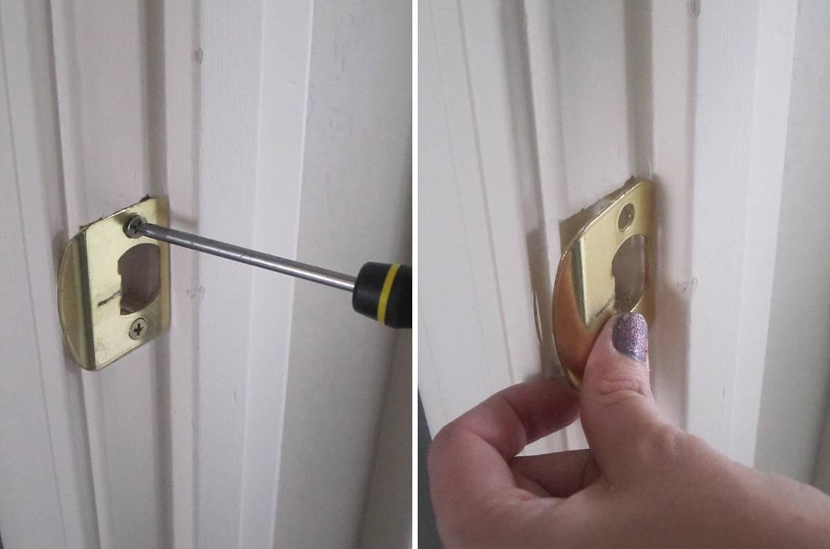 Установка ответной части для ручки на двери
