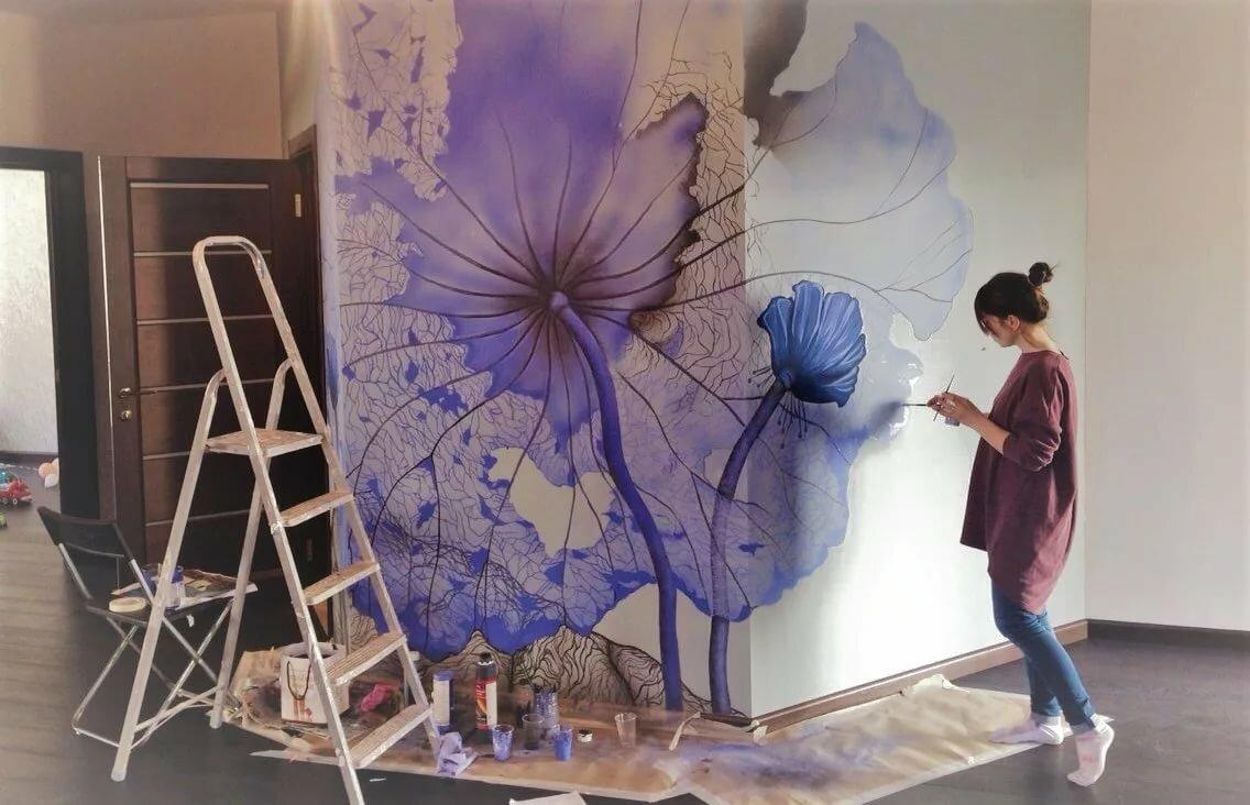 Рисование картин на стенами красками