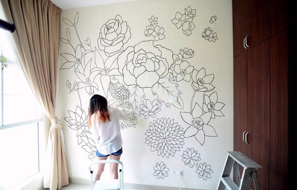 Рисование на стене карандашом