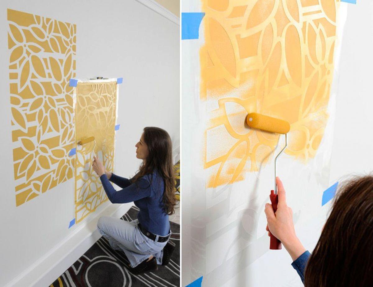 Рисование валиком на стене