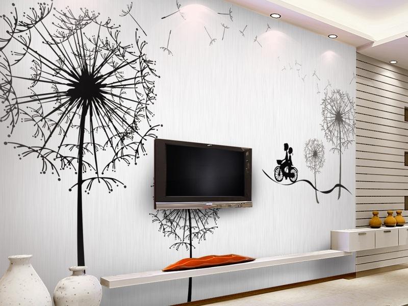 Рисунки на стене в гостиной